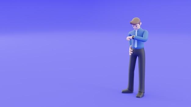 Der geschäftsmann schaut auf seine uhr, um die uhrzeit zu überprüfen und etwa eine minute bis eine stunde auf einen kollegen oder seinen händler zu warten. 3d-illustrations-rendering im geschäftskonzept.