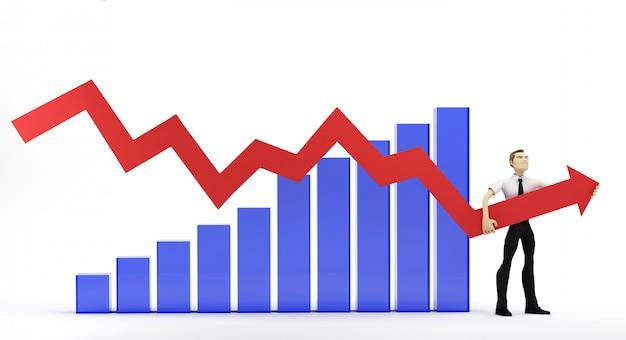 Der geschäftsmann verbessert die finanzielle wachstumsleistung