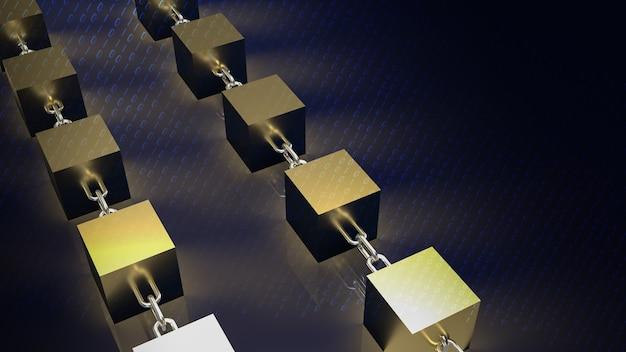 Der goldblock und die kette für das blockchain-technologiekonzept 3d-rendering
