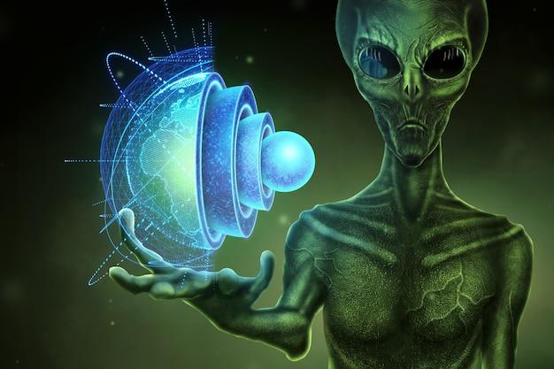Der grüne alien humanoid hält ein hologramm des globus auf der hand. ufo-konzept, außerirdische, kontakt mit der außerirdischen zivilisation.