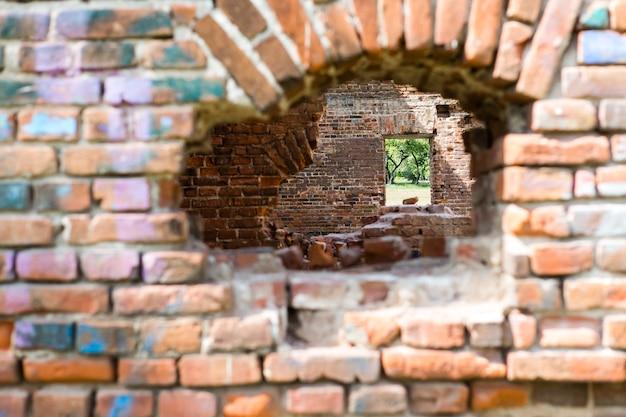 Der grüne garten ist durch ein zerstörtes rotes backsteingebäude sichtbar. konzeptionelle zusammensetzung.
