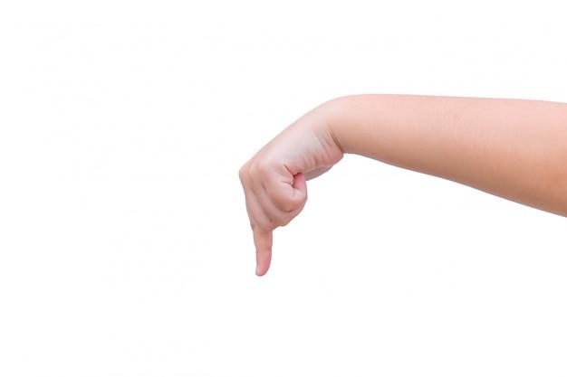 Der handfinger zeigt nach unten, um eine auf weiß isolierte geste auszuwählen