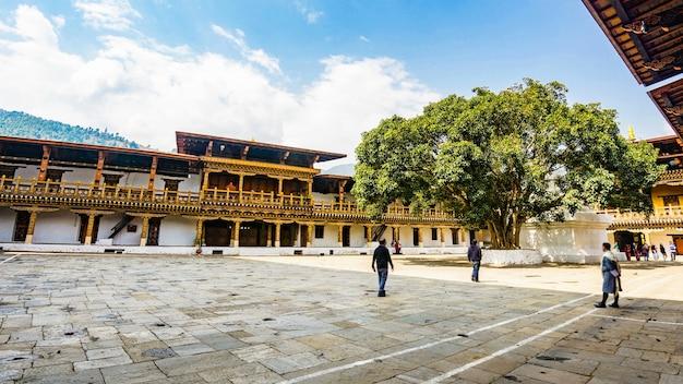 Der hardscape plaza und der sri maha bodhi mit dem terrassengebäude