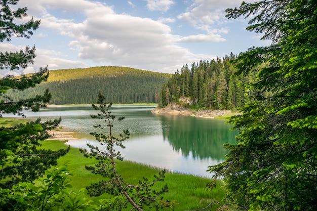 Der herrliche schwarze see liegt im nationalpark durmitor im norden montenegros.