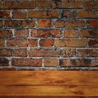 Der hintergrund ist leere holzbretter und eine strukturierte backsteinmauer mit beleuchtung und vignettierung