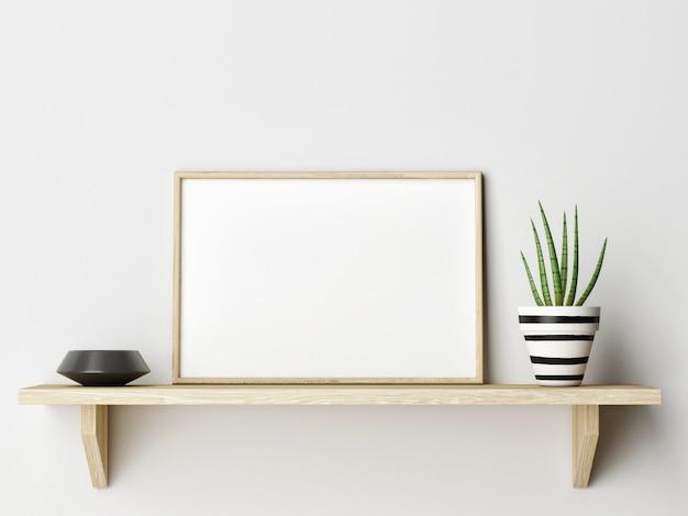 Der horizontale holzrahmen auf holzregal mit wohndekoration