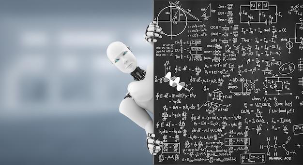 Der humanoide 3d-render-roboter zeigt sich von der pädagogischen tafel im klassenzimmer