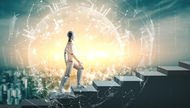 Der humanoide 3d-rendering-roboter geht die treppe zum erfolg hinauf