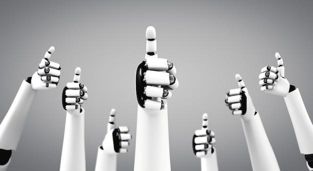 Der humanoide roboter gibt die hände hoch, um den erfolg der ki zu feiern