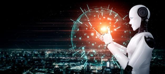 Der humanoide roboter verwendet ein mobiltelefon oder tablet für eine globale netzwerkverbindung mit einem ki-denkenden gehirn