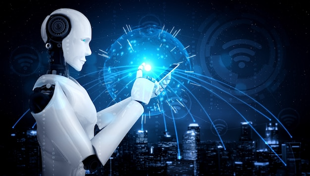 Der humanoide roboter verwendet ein mobiltelefon oder tablet für eine globale netzwerkverbindung