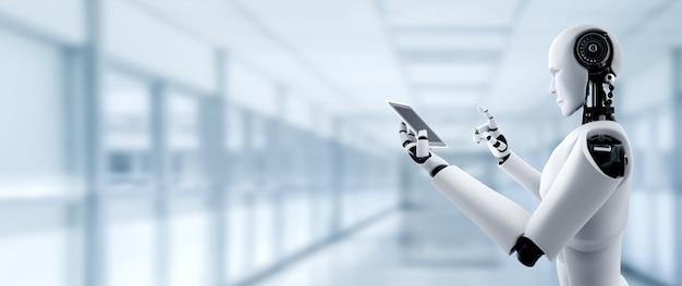 Der humanoide roboter verwendet ein mobiltelefon oder tablet in einem zukünftigen büro, während er ein ki-denkendes gehirn verwendet