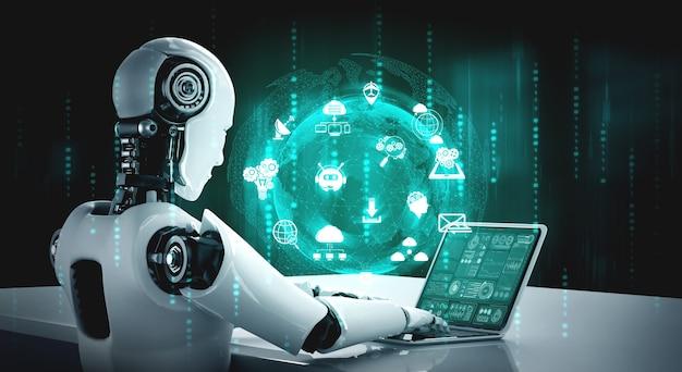 Der humanoide roboter verwendet einen laptop und setzt sich für eine globale netzwerkverbindung an den tisch