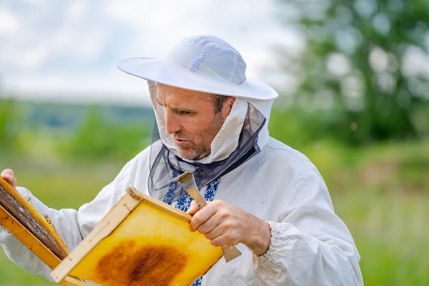 Der imker hält eine honigzelle mit bienen in den händen. imkerei. bienenhaus.