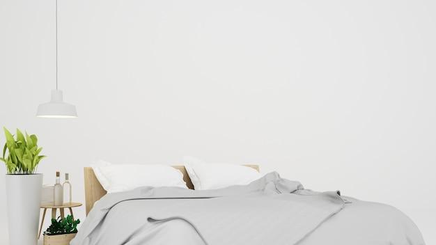 Der innenminimalwohnzimmer-weißhintergrund im kondominium