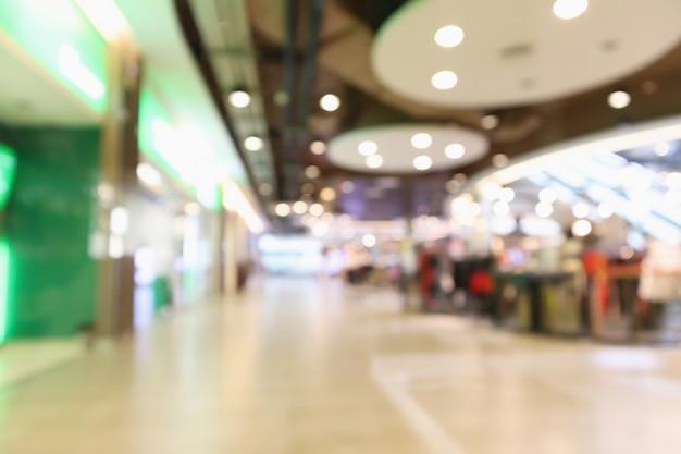 Der innenraum des abstrakten verwischenden modernen einkaufszentrumsgeschäfts defokussiert hintergrund