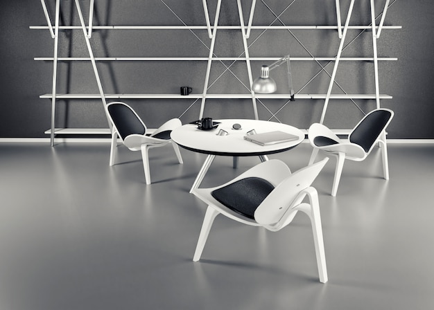Der innenraum des raumes mit drei stühlen und einem tisch