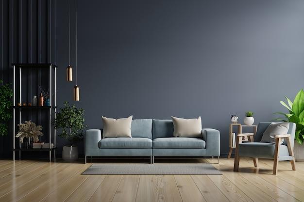 Der innenraum hat ein sofa und einen sessel auf leerem dunklem wandhintergrund, 3d-darstellung
