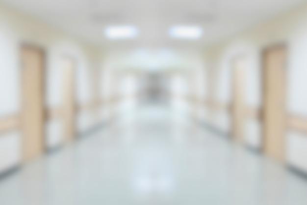 Der innere korridor des krankenhauses verwischte den hintergrund