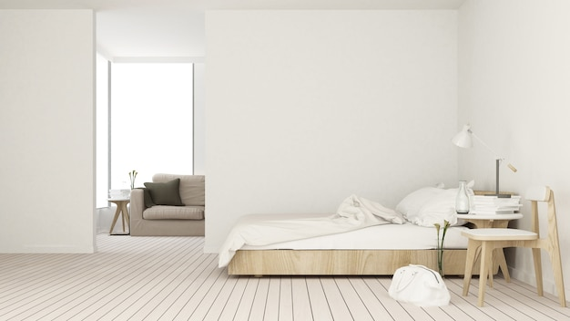Der innere raum des schlafzimmers 3d in der wohnung