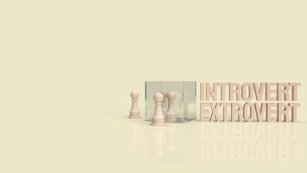Der introvertierte und extravertierte text für das 3d-rendering im hintergrund.