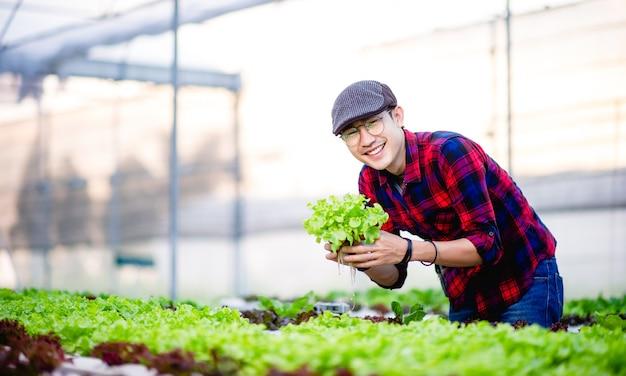 Der junge mann und sein salatgarten