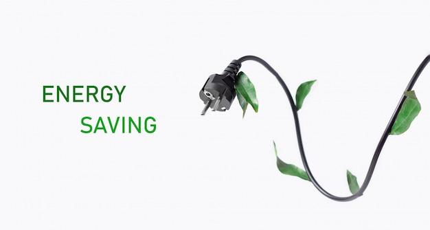 Der kampf um energieeffizienz und energieeinsparung. konzeptionelles foto. elektrischer stecker mit grünen blättern auf einem weißen hintergrund mit text