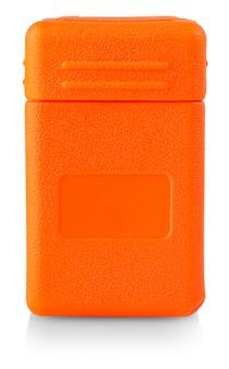Der klare plastikbehälter für alles. aufbewahrungsbox aus kunststoff mit orangefarbenem deckel