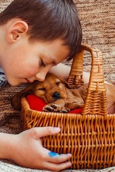 Der kleine junge, der einen korb mit hund in beschlag nimmt