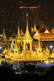 Der königliche scheiterhaufen von könig bhumibol adulyadej in sanam luang, bangkok, thailand