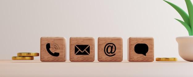 Der kontaktdruckbildschirm der geschäftswebsite auf dem holzblockwürfel umfasst telefon, adresse und e-mail sowie eine nachricht für den kontakt mit uns des kundenservicekonzepts von self-service durch 3d-rendering.