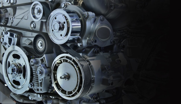 Der kraftvolle motor eines autos. internes design des motors für den kopienraum, schwarzweiss