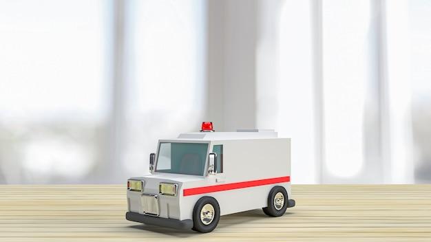 Der krankenwagen auf holztisch für das gesundheitswesen oder das medizinische konzept 3d-rendering