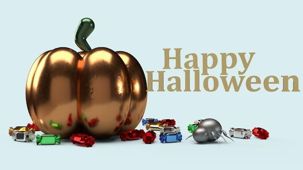 Der kürbis der wiedergabe 3d auf blauem hintergrund für halloween-inhalt.