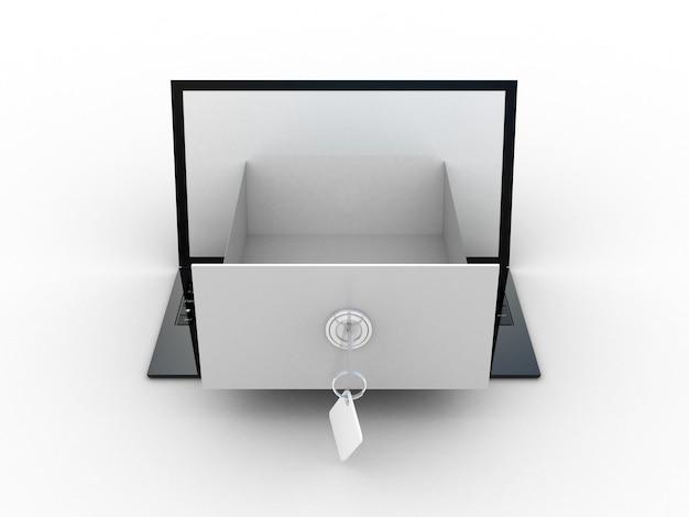 Der laptop mit einer offenen box auf dem bildschirm. 3d-illustration der informationssuchmetapher