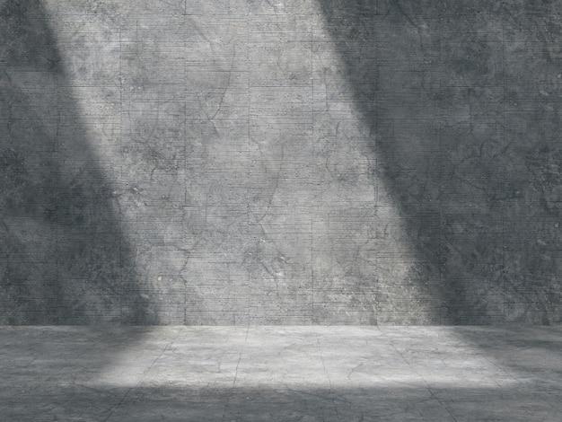 Der leere raum für produkte wird im betonraum mit natürlichem licht von oben angezeigt.