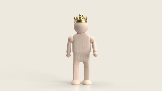 Der mann figur holzspielzeug und krone