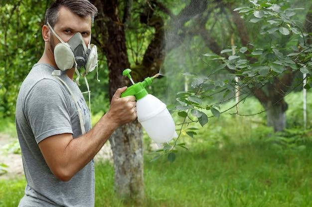 Der mann im beatmungsgerät besprüht die pflanzen
