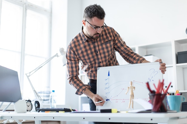 Der mann im büro steht neben dem tisch und erklärt den zeitplan auf der magnettafel.