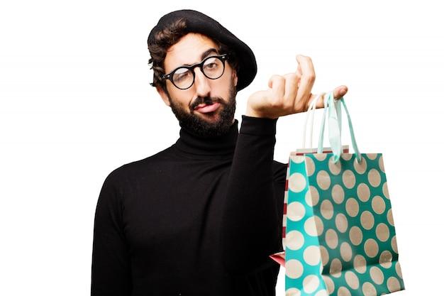 Der mann mit müden gesicht, die einkaufstaschen