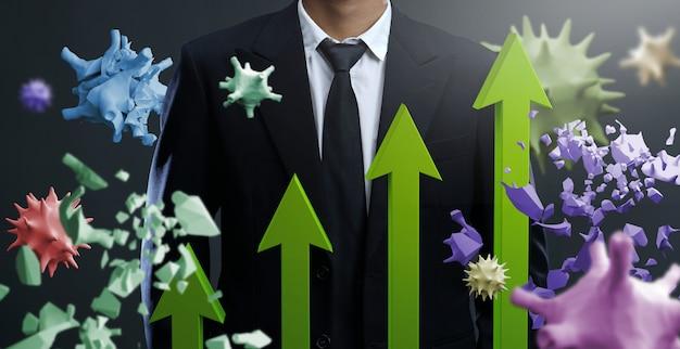 Der markt steigt aufgrund des umgangs mit viren. wiederherstellung der wirtschaft durch den sieg über coronavirus
