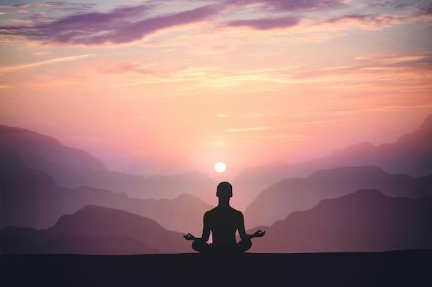 Der mensch praktiziert yoga und meditiert auf dem berg und bei sonnenuntergang