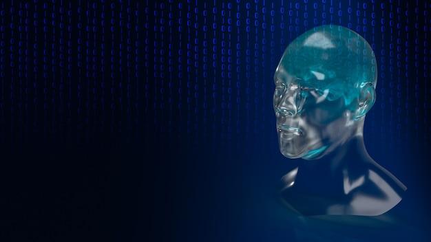 Der menschliche roboterkopf mit grafischem elementgesicht repräsentiert künstliche intelligenz und maschinelles lernen konzept 3d-rendering