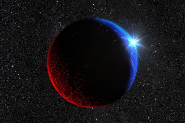 Der meteorit traf den planeten mit brennender lava und rissen