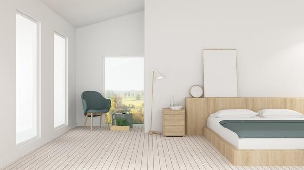 Der minimale innenschlafzimmerraum im hotel- und dekorationshintergrund - wiedergabe 3d