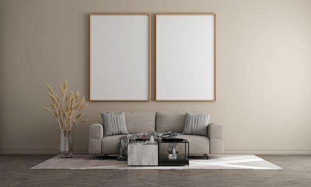 Der mock-up-leinwandrahmen und das möbeldesign im modernen innenhintergrund