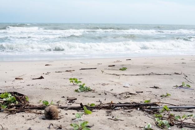 Der müll am strand, schmutzige und schlechte verschmutzung