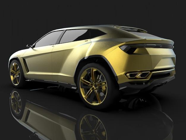 Der neueste sport allrad gold premium crossover im schwarzen studio mit reflektierendem boden