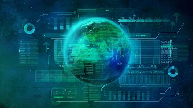 Der planet erde ist von vielen infografiken und daten auf dem hintergrund des weltraums umgeben