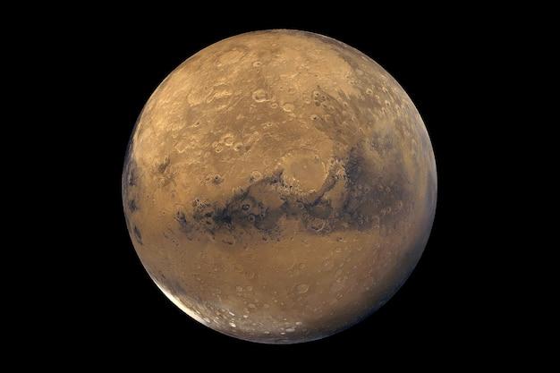 Der planet mars in natürlichen farben auf dunklem hintergrund elemente dieses von der nasa bereitgestellten bildes